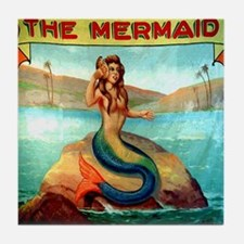 Vintage Mermaid Carnival Poster Showe Tile Coaster