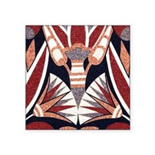 "Art Deco Geometric Floral Square Sticker 3"" x 3"""