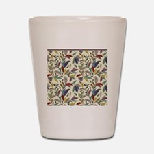 Muted Fall Mosaic Vines on Cream Back Shot Glass