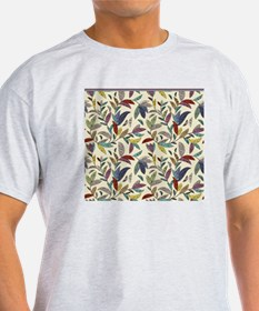 Muted Fall Mosaic Vines on Cream Bac T-Shirt
