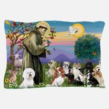 Saint Francis  10 dogs Pillow Case