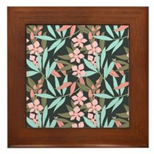 Peach Orchids and Turquoise Leaves cop Framed Tile