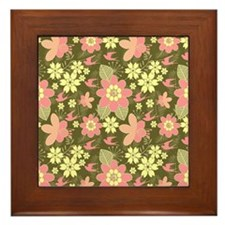 Pink and Cream Tropical Flowers on Oli Framed Tile