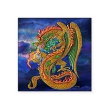 "Golden Dragon  16x16 Square Sticker 3"" x 3"""