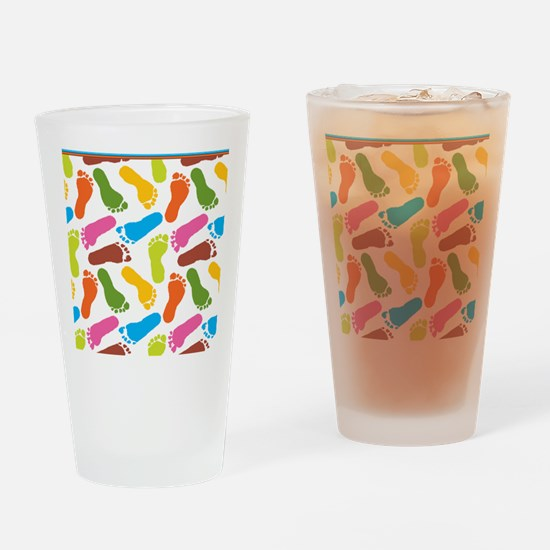 Colorful Footprints on White Back c Drinking Glass