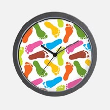 Colorful Footprints on White Back copy Wall Clock