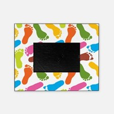 Colorful Footprints on White Back co Picture Frame