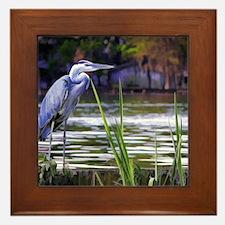 Blue Heron Sketch Framed Tile