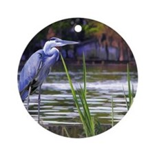 Blue Heron Sketch Round Ornament