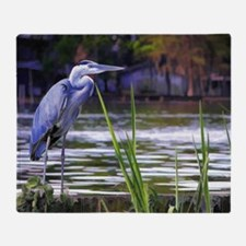 Blue Heron Sketch Throw Blanket