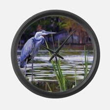 Blue Heron Sketch Large Wall Clock