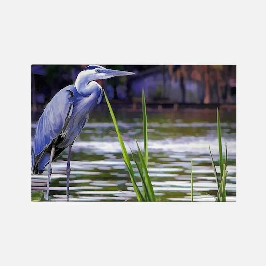 Blue Heron Sketch Rectangle Magnet