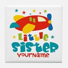 Little Sister Plane - Personalized Tile Coaster