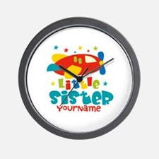 Little Sister Plane - Personalized Wall Clock