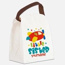 Little Sister Plane - Personalized Canvas Lunch Ba