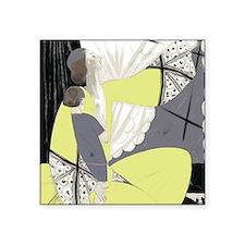 """Art Deco Woman And Child Square Sticker 3"""" x 3"""""""