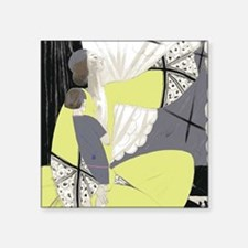 "Art Deco Woman And Child Square Sticker 3"" x 3"""