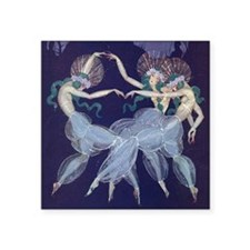 "Art Nouveau Ballerinas Square Sticker 3"" x 3"""