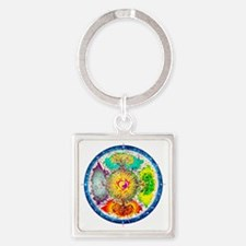 Four Seasons Mandala Square Keychain