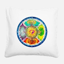 Four Seasons Mandala Square Canvas Pillow