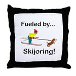 Fueled by Skijoring Throw Pillow
