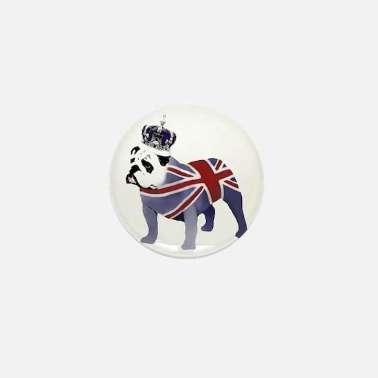 English Bulldog and Crown Mini Button