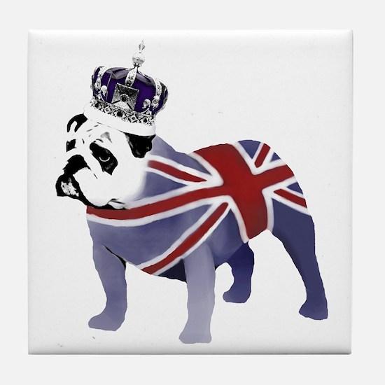 English Bulldog and Crown Tile Coaster