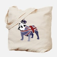 English Bulldog and Crown Tote Bag