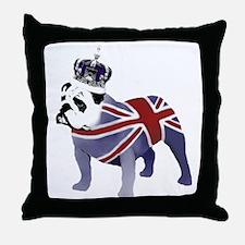 English Bulldog and Crown Throw Pillow