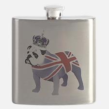 English Bulldog and Crown Flask