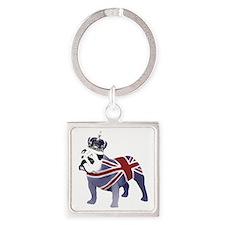 English Bulldog and Crown Square Keychain