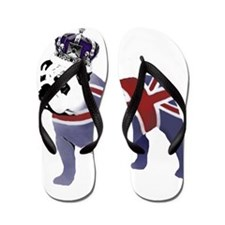 English Bulldog and Crown Flip Flops