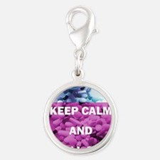 Keep Calm and Fill On (Purple  Silver Round Charm