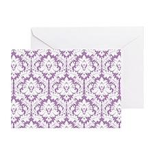 Lilac Violet Damask Greeting Card