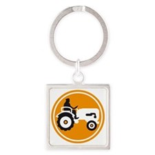 farmer with a tractor Square Keychain