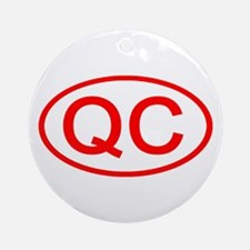 QC Oval (Red) Ornament (Round)