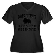 Keeshond Dog Women's Plus Size Dark V-Neck T-Shirt