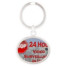 Stop - Video Surveillance Oval Keychain