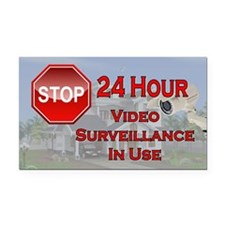 Stop - Video Surveillance Rectangle Car Magnet