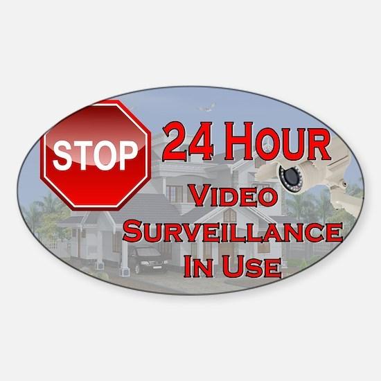 Stop - Video Surveillance Sticker (Oval)