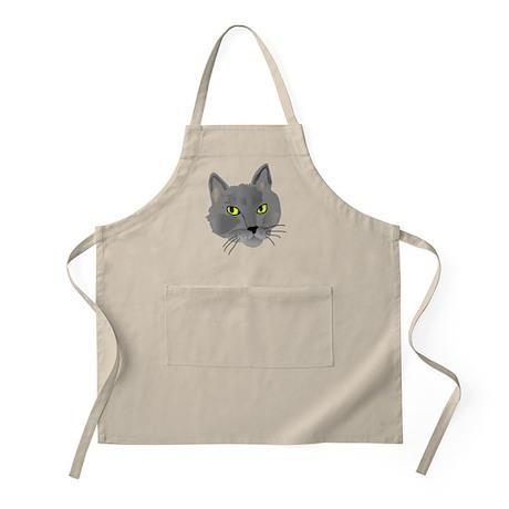 Gray cat head BBQ Apron