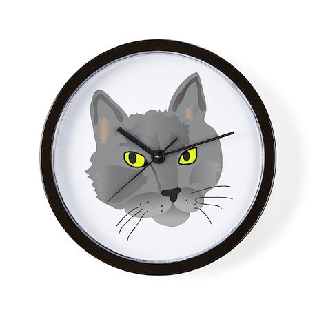 Gray cat head Wall Clock