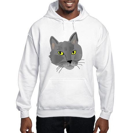 Gray Cat Hooded Sweatshirt