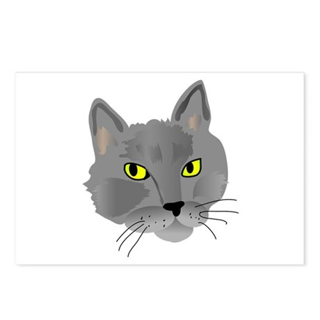 Gray cat head Postcards (Package of 8)