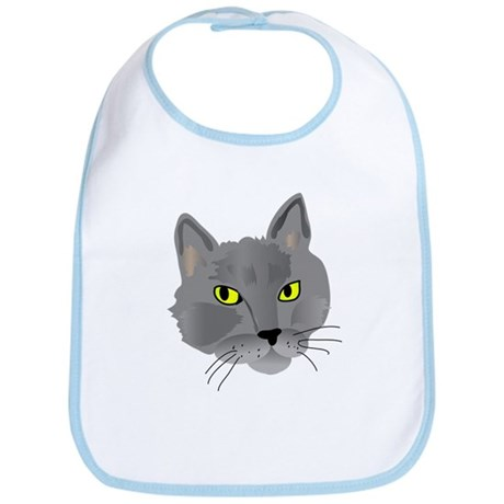 Gray cat head Bib
