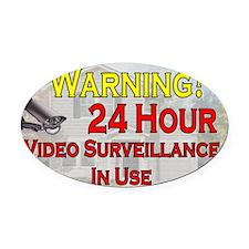 Warning - Video Surveillance Oval Car Magnet