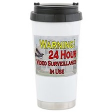 Warning - Video Surveil Travel Coffee Mug