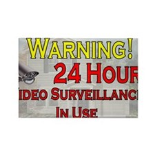 Warning - Video Surveillance Rectangle Magnet