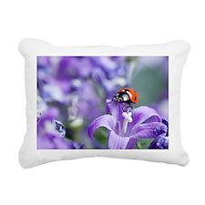 Bellflowers Ladybug Rectangular Canvas Pillow