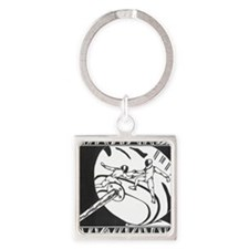 Fencing Reflection Square Keychain